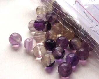 Natural Rainbow Fluorite Beads Assorted Shade of Purple Beads