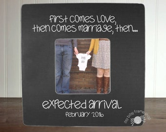 Pregnancy Reveal Frame Pregnancy Announcement Frame New Baby Reveal New Baby Announcement Personalized Frame First Comes Love IBFSBABY