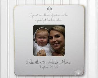 Godmother Gift Godmother Frame Gift for Godmother Baptism Frame Christening Frame Godparent Gift Godparent Frame FEATURED