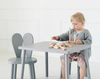 Set of two Wooden Kids chair + table