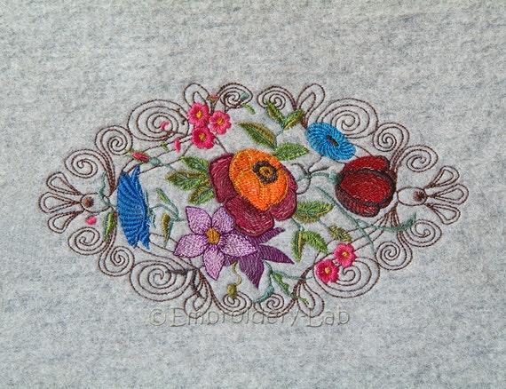 Flowers 0001c Machine Embroidery Design Baby Girl Boy Etsy