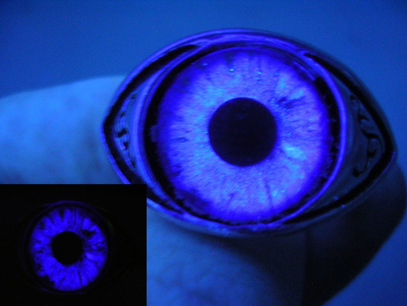 Color Shift Gothic Steampunk Fantasy Dragon Eye Silver Swirl Ring Purple  Violet Lavender Ghost Dramatic Glow in the dark