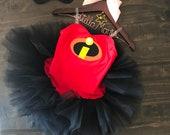 Super sweet violet- violet -incredibles - tutu dress - costume - red - black - mask - tutu - birthday - halloween