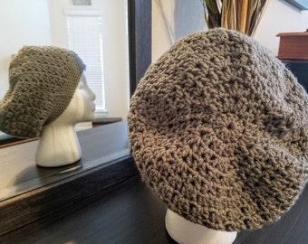 Crocheted V-stitch Slouchy Beanie-- Gray