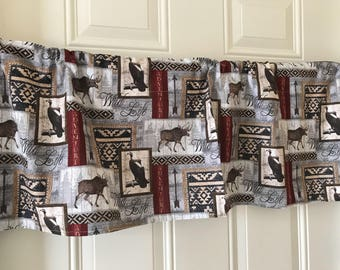 Wild Life Patchwork Moose Bear Deer Arrow Gray Brown Red Curtain Valance