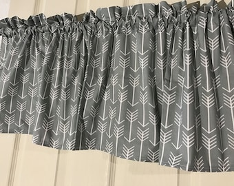 Gray With White Arrows Curtain Valance