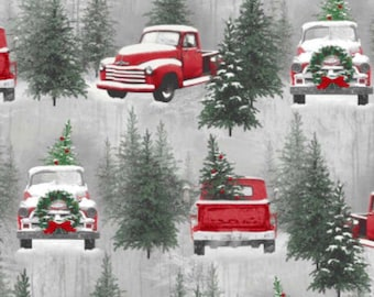 farmhouse snow country christmas red antique truck curtain valance - Country Christmas