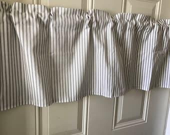 Farmhouse Black and White stripe ticking Curtain Valance