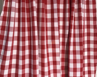 Red and White Gingham Buffalo Check large print Curtain tiers panels