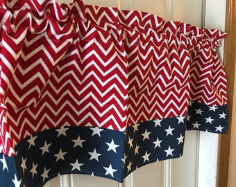 Patriotic Red White chevron with blue stars border Curtain Valance