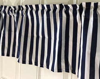 Navy and White stripe curtain valance