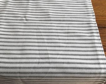 Black and white stripe ticking table runner