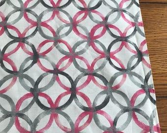 Gray and Pink circle modern retro table runner