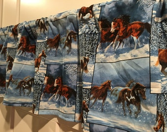 winter blue snow horses curtain valance