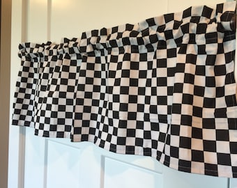 Black and white Checkered Flag/ Racing nascar Valance