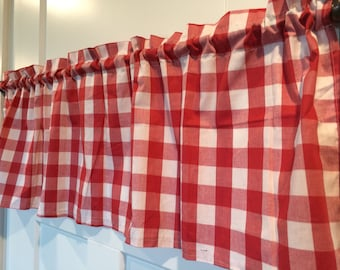 Red and White Gingham Buffalo Check large print Curtain Valance