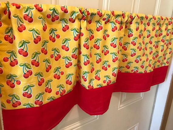 Fascinating Red Yellow Kitchen Curtains