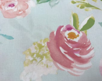 Baby Blue and Pink rose shappy chic cottage spring curtain  valance