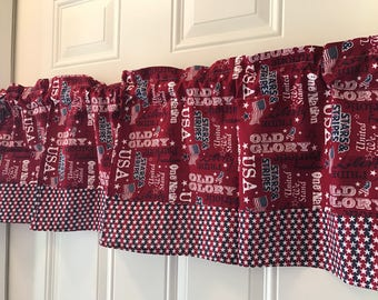 Patriotic Flag Old Glory  Americana Curtain valance with stars border