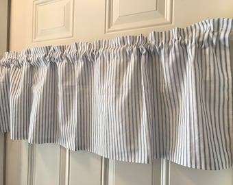 Farmhouse Blue and White stripe ticking Curtain Valance