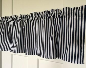 Navy & White Striped Nautical Kitchen Any Room Curtain Valance