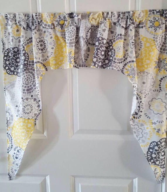 Kitchen Curtains Yellow And Gray: Yellow And Gray Flower Kitchen Any Room Swag Valance