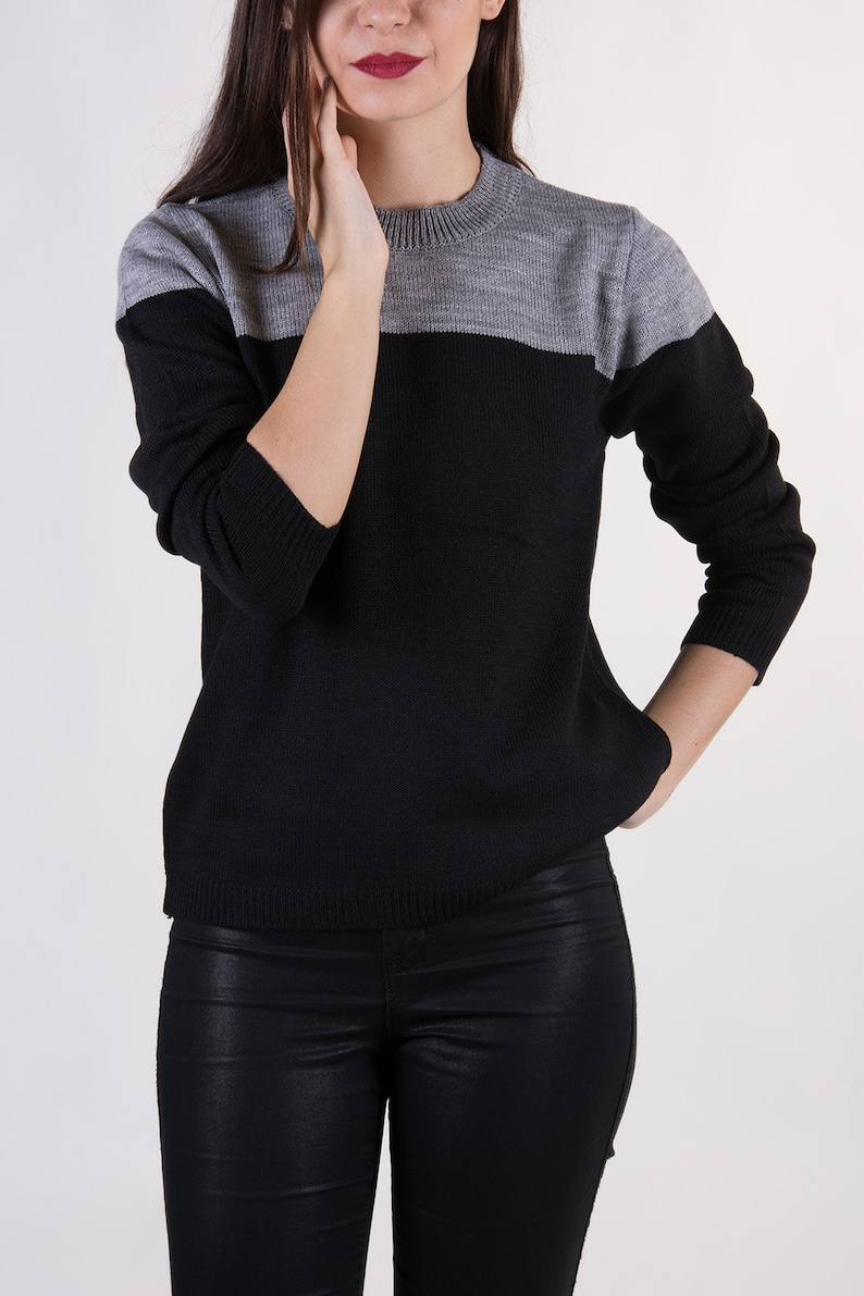 the Horizon GreyBlack colour block fine knit minimal everyday pullover knitted sweater