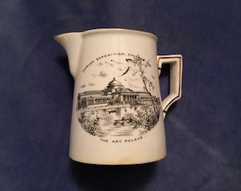 1893 Chicago World's Fair Souvenir Marked England Fine English China Transferware Pitcher The Art Palace Memorabilia Creamer