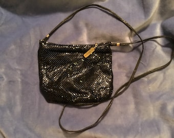 Marked Whiting and Davis Jewelry Company Black Enamel Square Zippered Metal Mesh Evening Bag Shoulder Crossbody Purse