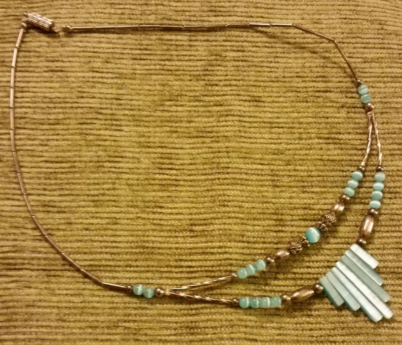 Vintage Light Blue Mother of Pearl and Silver Tone Bead Fetish or Fringe Style Necklace