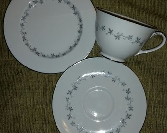 Royal Doulton Fine English Bone China Cadence Pattern TC 1007 with Platinum Trim Coffee Trio Set Cup Saucer and a Plate