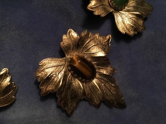 MoDern Jewelry DouBLe Leaf PiN GoLD LEAF PIN Stylized Leaf BrOOch VinTage Costume Jewelry