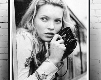 Young Kate Moss with Camera, Fashion photography, vintage photography, print, homedecor, wall art,