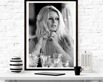 Brigitte Bardot , Fashion photography , Vintage French Actress Poster, Gift, home decor, model,