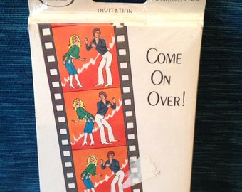 Vintage Disco Invites 70s Studio 54 Style Party Get Together Invitations Come On Over 10 Cards & Envelopes Norcross