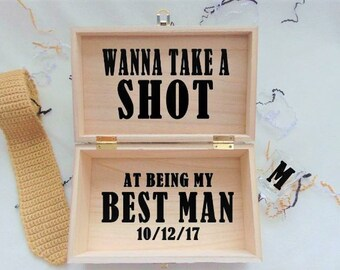 Best Man Proposal Gift Box Wanna Take A Shot At Being My Best Man Personalized Gift Box & Best man gift ideas   Etsy