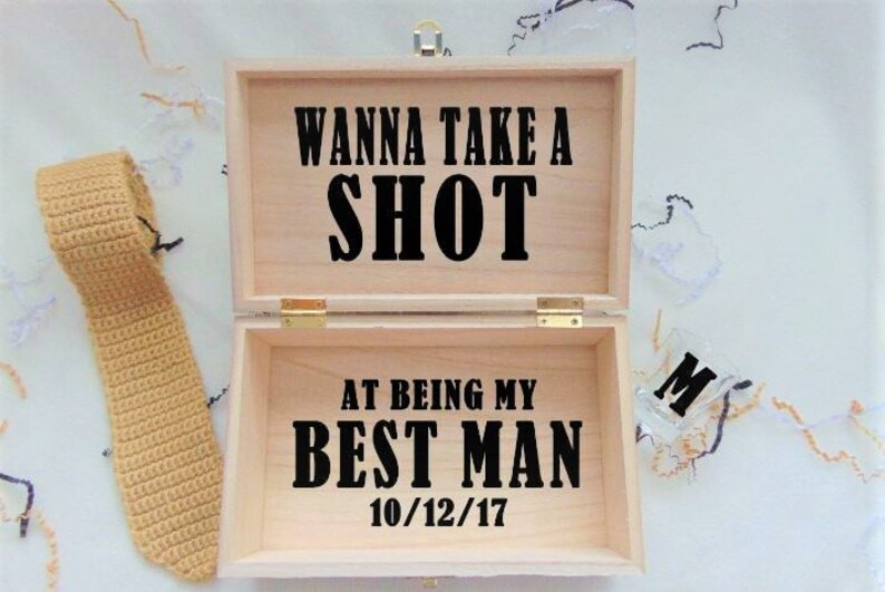 e4bde78496ed1 Best Man Proposal Gift Box, Wanna Take A Shot At Being My Best Man,  Personalized Gift Box