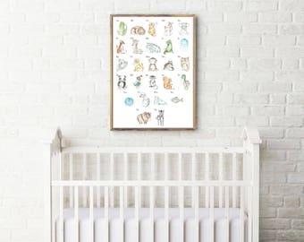 alphabet poster, animal alphabet poster, alphabet print, alphabet for nursery, alphabet for kids room, woodland nursery, alphabet animal