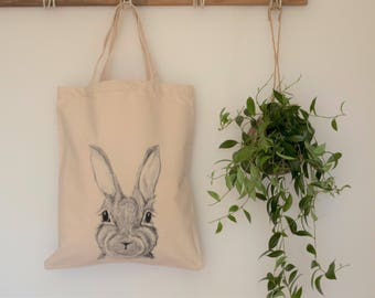 rabbit bag, rabbit lover gift, funky tote bag, hare bag, vegan bag, market bag, tote bag, rabbit lover gift, rabbit library bag