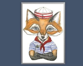 Sailor Fox print, fox print, anthropomorphic fox print, fox art, fox dressed up print, quirky fox print, fox art