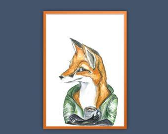 a3 Watercolor fox print, fox art, fox and coffee print, fox and coffee art, fox lover gift, quirky fox, fox print, boys room fox print, fox