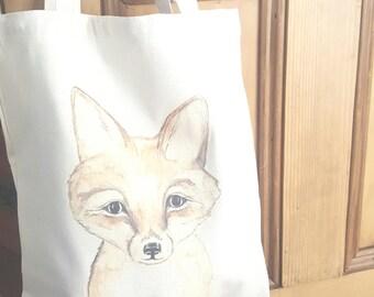 Fox market bag, Fox library bag, Fox tote, Watercolor fox bag