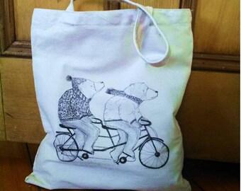 Bears cycling tandem bag, tandem cycling bag, bears on bike bag, tandem cycling fan gift
