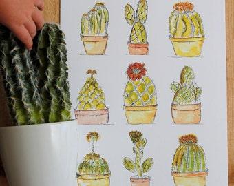 9 Cacti A4 Print, cacti print, cacti art, cactus print, cactus art, quirky cactus print, cactus, cactus a4 print, funky cactus art , cacti