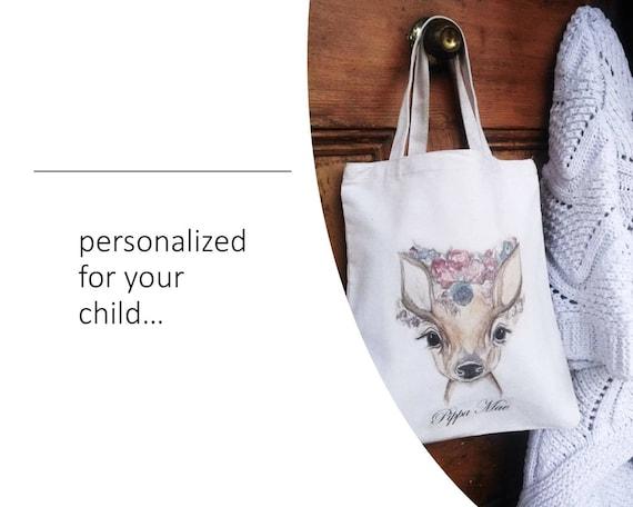 Floral Deer Everyday Tote Utility Tote Market or Shopping Bag Woodland Fawn Tote Market Bag Personalized Summer Tote Shoulder Bag