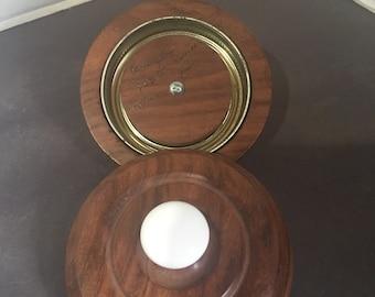 "Wooden standard sized jar lids, with porcelain handles  3 3/4"" across"