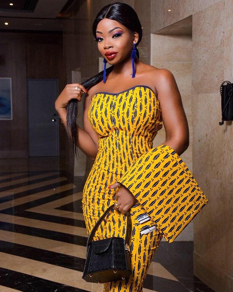 Yellow Ankara Gown African Print Long Dress