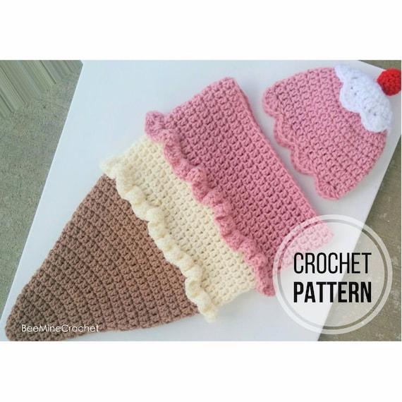Ice Cream Cone Newborn Cocoon And Hat Crochet Pattern Etsy