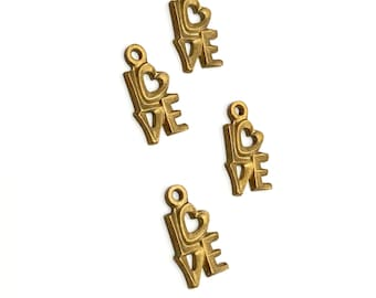 """10 Pieces """"LOVE"""" Charms, Raw Brass, 12x9mm, Vintage"""