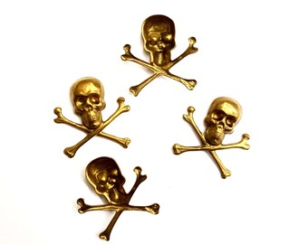 8 Pieces Small Skull Findings, Raw Brass, Hollow Back, Halloween, 20x21mm